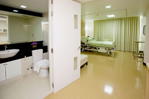 Patient Room at Kamol Hospital, Bangkok, Thailand